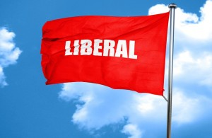 liberal, 3D rendering, a red waving flag